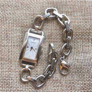 Rectangular Coach Silver Link Swiss Bracelet Watch